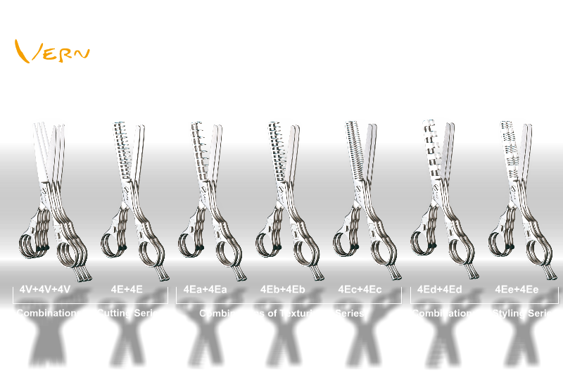 The professional set (15 pairs) of Vern Intelligent Combined Scissors can create up to ten thousands of various cutting effects, unlimitedly display hairdressers' original design intention.  Compared with the thousands' effects of the basic 8 pairs of Vern scissors, the professional 15 pairs of Vern Scissors can aspire hair stylists with more creative aspiration and design the immortal masterpiece.